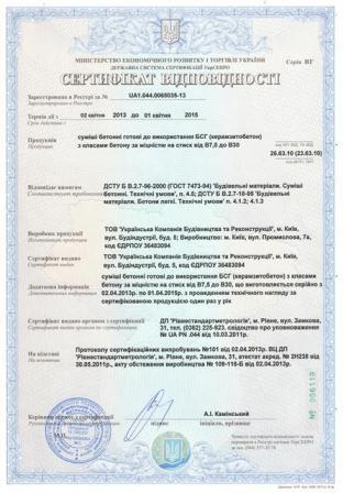 Сертификат керамзитобетон