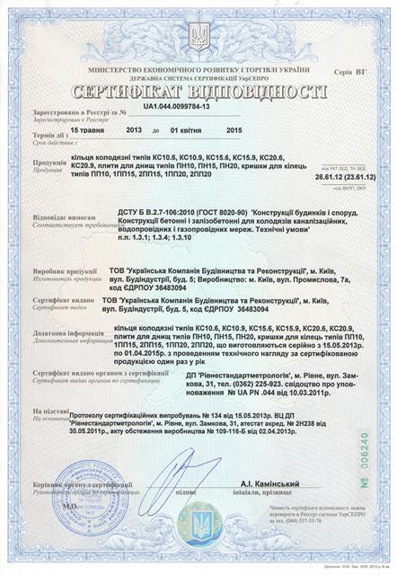 Сертификат кольца колодца